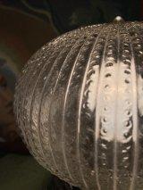 1930'S 1940'S シーリングライト 1灯 リブドクリアガラスシェード ジェリーフィッシュシェイプ フラッシュマウント クロムメッキ スイッチ付き アンティーク ビンテージ