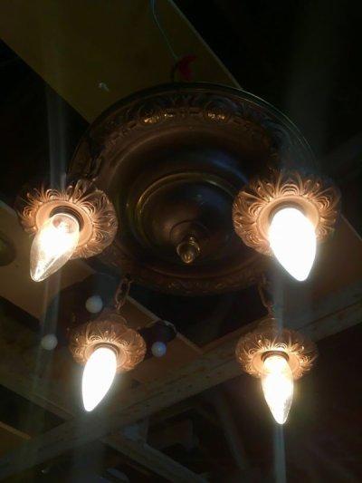 画像1: 1920'S30'S アールデコ シーリングライト 4灯 シャンデリア 真鍮 ベアバルブ スイッチ付 装飾 アンティーク ビンテージ
