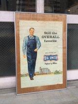 1950'S 60'S ビッグスミス BIG SMITH UNION MADE オーバーオール ビブ ワークウエアー ポスター ガラス入りアルミフレーム ウォールデコ ウォールオーナメント アンティーク ビンテージ