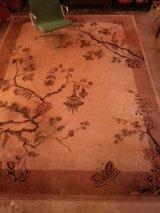 アンティーク アーリーセンチュリー ビクトリアン 絨毯 じゅうたん 巨大 蝶 風景画 ビンテージ