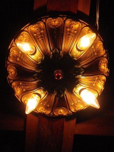 画像5: アンティーク アーリーエレクトリック 鋳物 シーリングライト 4灯 装飾 1900-1930's ビンテージ