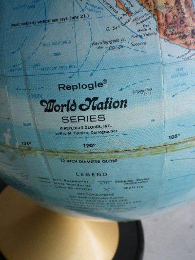 画像2: アンティーク 地球儀 グローブ Replogle製 World Nation SERIES GLOBE リプルーグル・グローブス ビンテージ