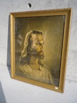 アンティーク ウォールオーナメント 装飾額縁 キリスト肖像画1940年 ビンテージ