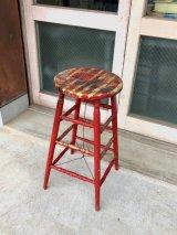 ウッドスツール シャビーシック アート アーティスティックペイント ハイスツール    スツール 木製 ディスプレイ台にも アンティーク ビンテージ