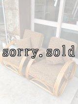 1950'S 60'S   ラタン ソファ シングル 2脚セット トロピカル tropical furniture for the home TIKI ティキ hawaii florida ラタン バンブー フィフティーズ アンティーク ビンテージ