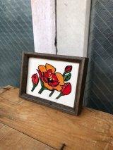 ウォールデコ ウォールオーナメント バラ 薔薇 チューリップ 花 壁掛け 刺繍アート アンティーク ビンテージ
