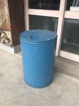 ブルーペイント ペーパードラム缶 ファイバードラム ダストボックス trash can ゴミ箱 スチール×硬質厚紙 大型 アンティーク ビンテージ