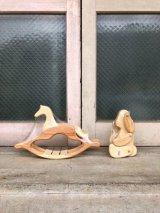 1970' 80'S wood peddler ウッデントイ horse ホース 馬 dog ドッグ 犬 トイ ウッド folkart フォークアート 2点セット アンティーク ビンテージ