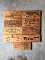 30'S 40'S 50'S フルーツクレート アド VITO FRUIT CO. CALIFORNIA FRUIT EXCHANGE ウッドボックスアドバタイシング 表紙 ペーパータイトル 刻印 プリント アドバタイシング タイポグラフィー デザインソースに アンティーク ビンテージ