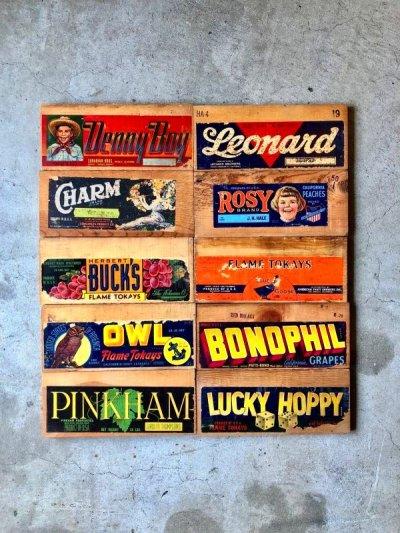 画像1: 30'S 40'S 50'S フルーツクレート アド DENNY BOY BONOPHIL GRAPES LUCKY HOPPY ウッドボックスアドバタイシング 表紙 ペーパータイトル 刻印 プリント アドバタイシング タイポグラフィー デザインソースに アンティーク ビンテージ
