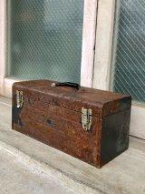 ツールボックス やや大型 インナートレイ メタルボックス 工具箱 インダストリアル 錆 シャビーシック アンティーク ビンテージ