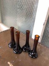 ミッドセンチュリー モダン 一輪挿し 小 FLOWER VASE 花瓶 フラワーベース アンバーガラス アンティーク ビンテージ