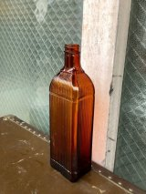 1900'S 10'S リブ ガラス瓶 メディスンボトル MEDISIN BOTTLE アンバー アンティーク ビンテージ