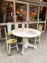 1940'S 50'S ダイニングテーブル & チェアーセット 円卓 オーバルテーブル シャビーシック キッチンテーブル カントリー チェア 椅子 5脚セット シャビーホワイト イエロー ウッド アンティーク ビンテージ