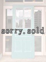 商談中   1930'S ガラス窓付木製ドア ホワイト ミントグリーン ドアノブ付き ラッチ付き プレート付き アンティーク ビンテージ