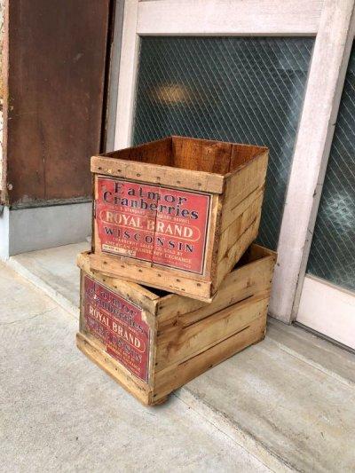 画像1: ウッドボックス フルーツクレート 木箱 EATMOR Cranberries ROYAL BRAND ストレージBOX アドバタイジング アンティーク ビンテージ