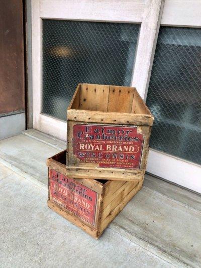 画像2: ウッドボックス フルーツクレート 木箱 EATMOR Cranberries ROYAL BRAND ストレージBOX アドバタイジング アンティーク ビンテージ