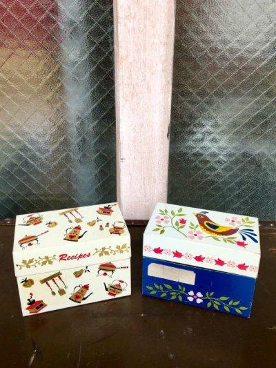 画像1: 1960'S RECIPE BOX メタルティンボックス レシピ入れ キッチンディスプレイ ソーター付き 撮影小物 カントリー キッチン アンティーク ビンテージ
