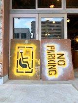 パーキングロット アート アートピース モダンアート ステンシル ハンディキャップ 駐車禁止 NO PARKING プライウッド 看板 サイン 大型 アンティーク ビンテージ